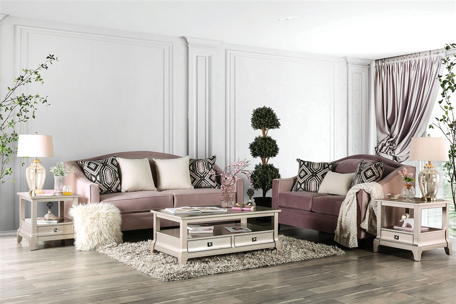 blush home decor.htm campana 2 piece sofa set in blush pink by furniture of america  campana 2 piece sofa set in blush pink