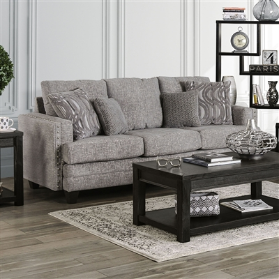Emelie Sofa in Light Gray by Furniture of America - FOA-SM4011-SF