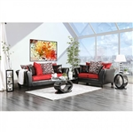 Braelyn 2 Piece Sofa Set in Black/Red by Furniture of America - FOA-SM4060