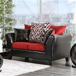 Braelyn Love Seat in Black/Red by Furniture of America - FOA-SM4060-LV