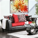 Braelyn Sofa in Black/Red by Furniture of America - FOA-SM4060-SF