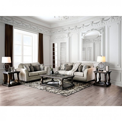 Aleah 2 Piece Sofa Set in Light Gray by Furniture of America - FOA-SM4110