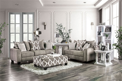 Basie 2 Piece Sofa Set in Gray by Furniture of America - FOA-SM5156