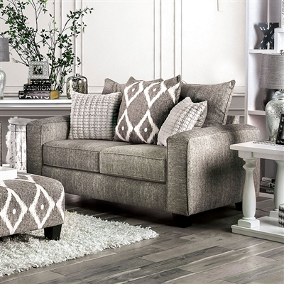 Basie Love Seat in Gray by Furniture of America - FOA-SM5156-LV