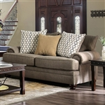 Augustina Love Seat in Light Brown by Furniture of America - FOA-SM5164-LV