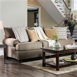 Augustina Sofa in Light Brown by Furniture of America - FOA-SM5164-SF