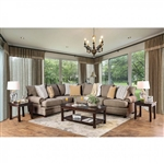 Augustina Sectional Sofa in Light Brown by Furniture of America - FOA-SM5165