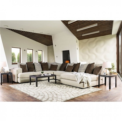 Giulianna Sectional in Cream/Brown by Furniture of America - FOA-SM5180