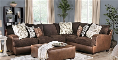 Gellhorn Sectional Sofa in Brown by Furniture of America - FOA-SM5202BR