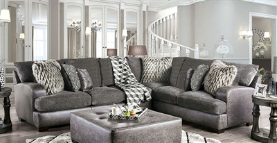 Gellhorn Sectional Sofa in Gray by Furniture of America - FOA-SM5202GY