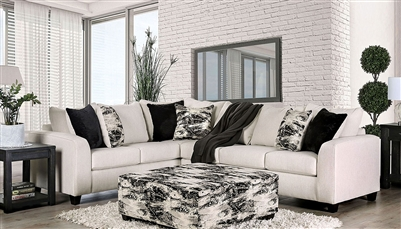 Barnett Sectional Sofa in Ivory by Furniture of America - FOA-SM5204IV