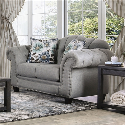 Glynneath Love Seat in Gray by Furniture of America - FOA-SM5212-LV