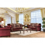 Tabitha 2 Piece Sofa Set in Wine by Furniture of America - FOA-SM6110