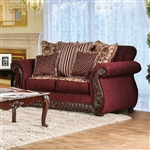 Tabitha Love Seat in Wine by Furniture of America - FOA-SM6110-LV