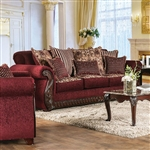 Tabitha Sofa in Wine by Furniture of America - FOA-SM6110-SF