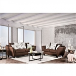 Delanie 2 Piece Sofa Set in Chocolate by Furniture of America - FOA-SM6203