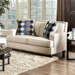 Haskell Love Seat in Beige by Furniture of America - FOA-SM6303-LV