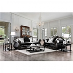 Tabatha 2 Piece Sofa Set in Champagne/Black by Furniture of America - FOA-SM6313