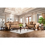 Nicanor 2 Piece Sofa Set in Tan & Gold by Furniture of America - FOA-SM6407