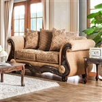 Nicanor Love Seat in Tan & Gold by Furniture of America - FOA-SM6407-LV
