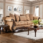 Nicanor Sofa in Tan & Gold by Furniture of America - FOA-SM6407-SF