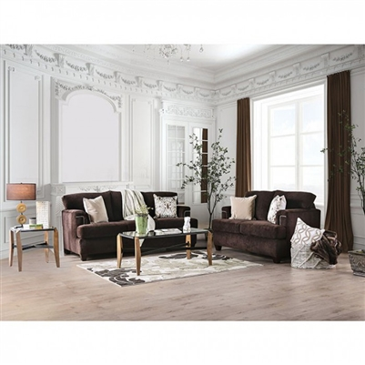 Brynlee 2 Piece Sofa Set in Chocolate by Furniture of America - FOA-SM6410