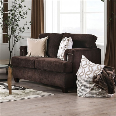 Brynlee Love Seat in Chocolate by Furniture of America - FOA-SM6410-LV