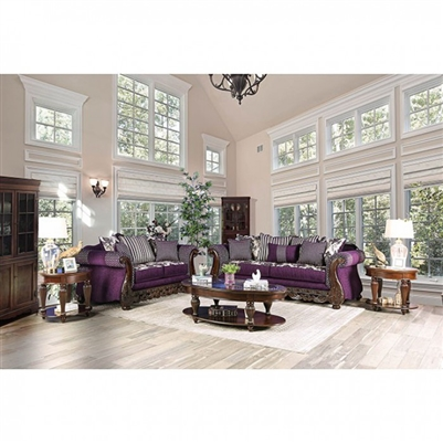 Emilia 2 Piece Sofa Set in Purple/Silver by Furniture of America - FOA-SM6419