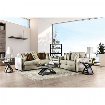Chubbuck 2 Piece Sofa Set in Beige/Copper by Furniture of America - FOA-SM6421