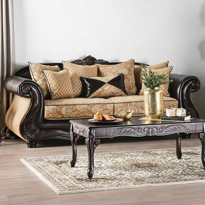 Admirable Aislynn Sofa In Gold Espresso By Furniture Of America Foa Sm6423 Sf Ibusinesslaw Wood Chair Design Ideas Ibusinesslaworg