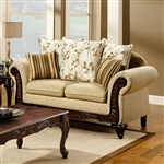 Doncaster Love Seat in Tan by Furniture of America - FOA-SM7435-LV