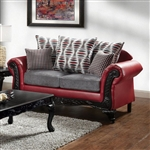 Myron Love Seat in Red & Gray by Furniture of America - FOA-SM7501-LV