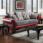 Myron Sofa in Red & Gray by Furniture of America - FOA-SM7501-SF