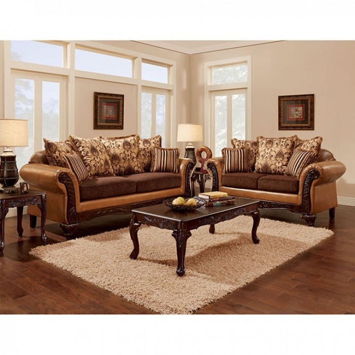 Isabella 2 Piece Sofa Set In Camel Brown By Furniture Of America Foa Sm7506
