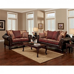 Ellis 2 Piece Sofa Set in Brown by Furniture of America - FOA-SM7507