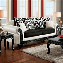 Dolphy Sofa in Black & White by Furniture of America - FOA-SM7600-SF