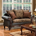 Rotherham Love Seat in Brown & Espresso by Furniture of America - FOA-SM7630-LV