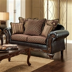 San Roque Love Seat in Brown & Espresso by Furniture of America - FOA-SM7635-LV