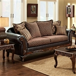 San Roque Sofa in Brown & Espresso by Furniture of America - FOA-SM7635-SF
