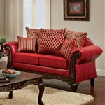 Marcus Love Seat in Red by Furniture of America - FOA-SM7640-LV