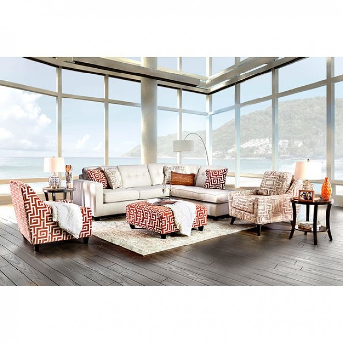 Superb Esmay Sectional Sofa In Ivory By Furniture Of America Foa Sm8115 Creativecarmelina Interior Chair Design Creativecarmelinacom