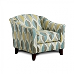 Brubeck Chair in Soft Teal with Leaf Pattern by Furniture of America - FOA-SM8140-CH-LF