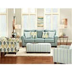 Brubeck Love Seat in Soft Teal by Furniture of America - FOA-SM8140-LV