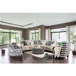 Patricia Sectional Sofa in Ivory by Furniture of America - FOA-SM8171