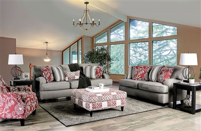 Ames 2 Piece Sofa Set in Charcoal by Furniture of America - FOA-SM8250