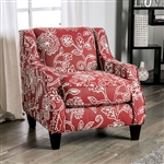 Ames Floral Chair in Orange by Furniture of America - FOA-SM8250-CH-FL