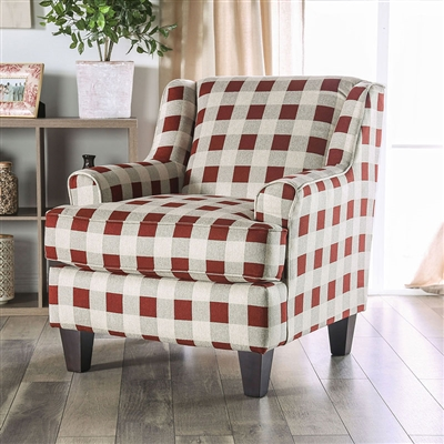 Fillmore Checkered Chair in Ivory/Brown by Furniture of America - FOA-SM8350-CH-SQ