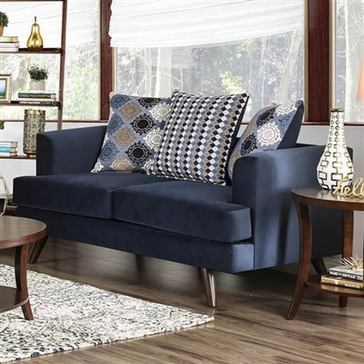 Blaenavon Love Seat in Blue by Furniture of America - FOA-SM8825-LV