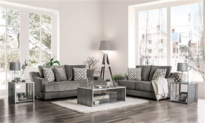 Adrian 2 Piece Sofa Set in Gray by Furniture of America - FOA-SM9101