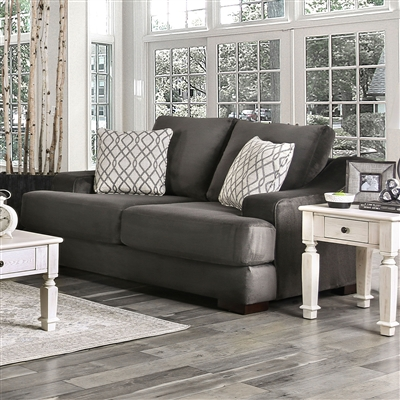Adrian Love Seat in Charcoal by Furniture of America - FOA-SM9102-LV